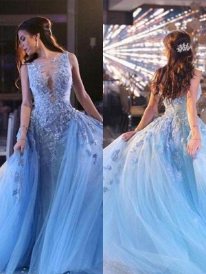 Chicloth Ball Gown Sleeveless Scoop Sweep/Brush Train With Applique Tulle Dresses_2