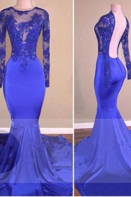 Chicloth Royal-Blue Long-Sleeves Open-Back Mermaid Shiny Sheer Prom Dresses_1