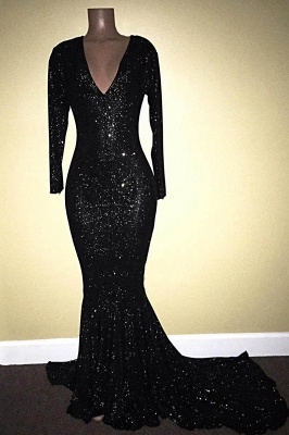 A| Chicloth SANDRA | Mermaid V-Neck Long Sleeves Black Sequins Prom Dresses_1