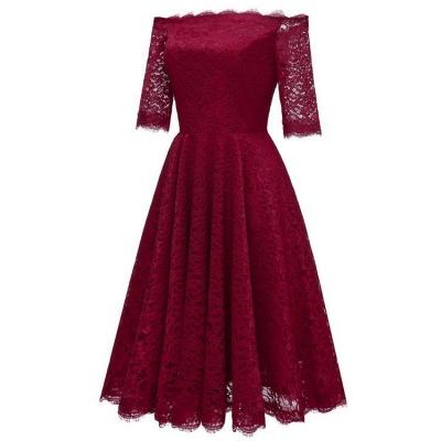 A| Chicloth White A-line Knee-length Lace Dress_6