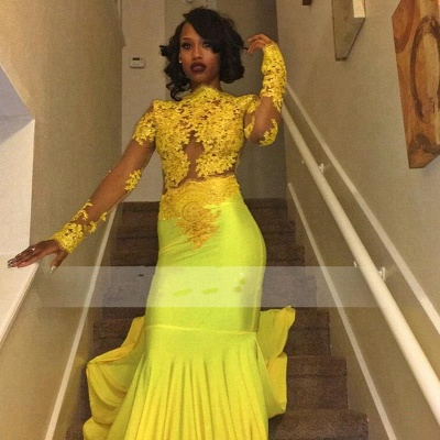 Chicloth Beautiful High-Neck Yellow Long-Sleeve Lace Appliques Mermaid Prom Dress_3