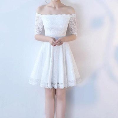 A| Chicloth White A-line Knee-length Lace Dress_3