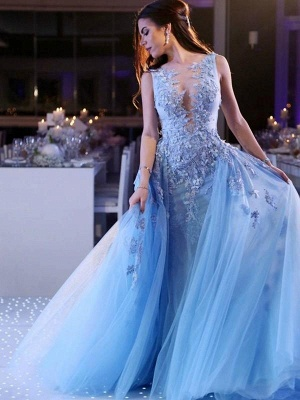 Chicloth Ball Gown Sleeveless Scoop Sweep/Brush Train With Applique Tulle Dresses_1