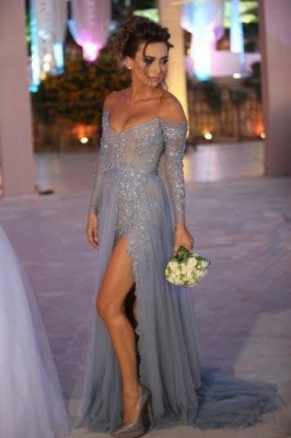 Chicloth Tiered Sexy Tulle Long Sleeve Evening Dresses Open Back Alluring Sweep Train Special Occassion Dresses_1