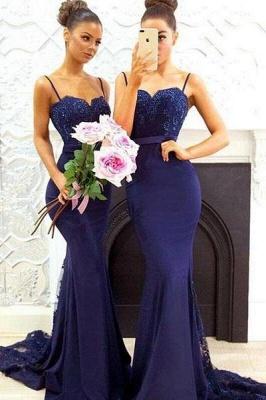 Chicloth Elegant Dark Navy Bridesmaid Dresses   Spaghettis Straps Lace Prom Dresses_1