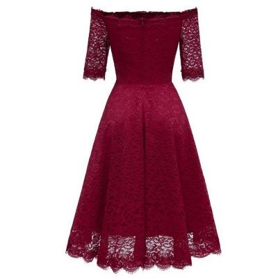 A| Chicloth White A-line Knee-length Lace Dress_7