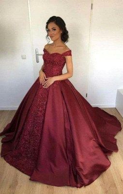 Chicloth Off-the-Shoulder Burgundy Lace Appliques Ball-Gown Evening Dress_2