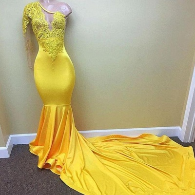 Chicloth Yellow one shoulder mermaid prom dress, lace evening dresses 2019_2