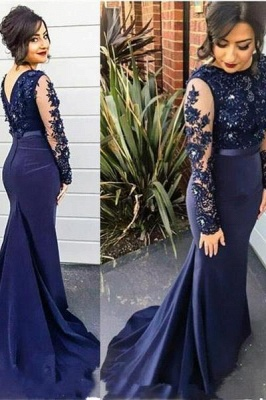 Chicloth Delicate Lace Appliques Beading Prom Dress 2019 Mermaid Long Sleeve BA2728_1