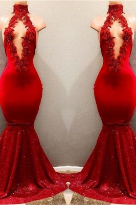 Chicloth Shiny Red Mermaid Prom Dresses High Keyhole Neckline Evening Gowns_1