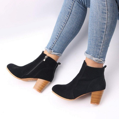 Suede Chunky Heel Zipper Daily Round Boots_8