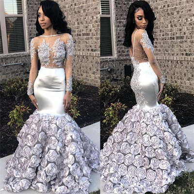 Chicloth Silver Flowers Sexy See Through Prom Dresses 2019 | Long Sleeve Beads Lace Mermaid Graduation Dress FB0371_3