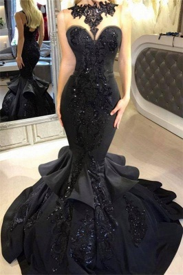 A| Chicloth Black Mermaid Beads Prom Dresses | Appliques 2019 Sexy Evening Dresses Cheap FB0267_1