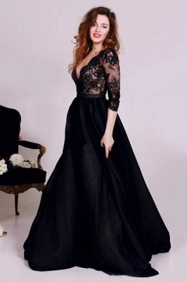 Chicloth Black Deep V-Neck Lace Formal Occasion Dress Gorgeous A-Line 3/4 Long Sleeve Evening Gown JT127_1