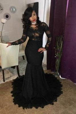 B| Chicloth Black Mermaid Prom Dresses | Sheer Long Sleeves Evening Gowns_1