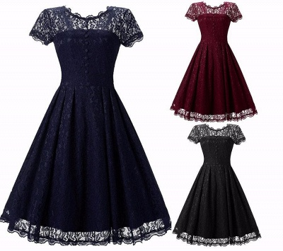 A| Chicloth Women Floral Lace Short Sleeve Vintage Lady Party Swing Bridesmaid Dress_4