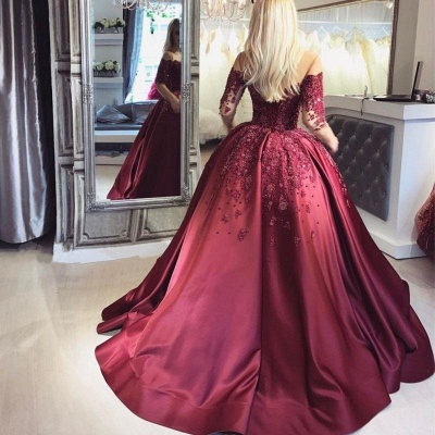 Chicloth Burgundy Off-the-Shoulder Long-Sleeves Crystal Appliques Ball Prom Dresses_3