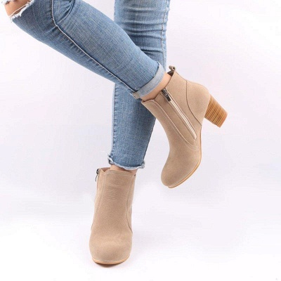 Suede Chunky Heel Zipper Daily Round Boots_6