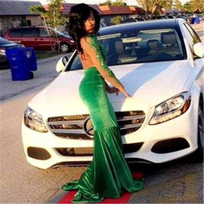 Chicloth Gorgeous Green Long-Sleeve Lace Appliques Split Mermaid Prom Dress_2