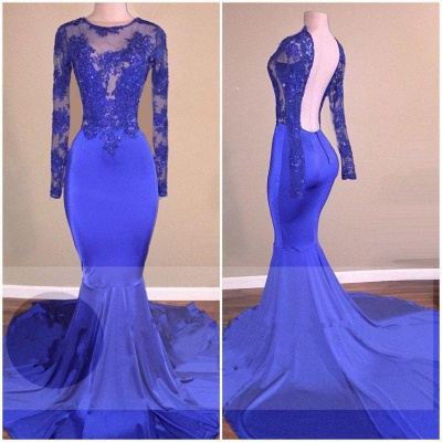Chicloth Royal-Blue Long-Sleeves Open-Back Mermaid Shiny Sheer Prom Dresses_3