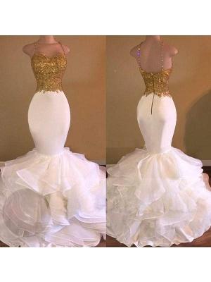 Chicloth Mermaid Organza Spaghetti Straps Sleeveless Floor-Length With Applique Dresses_1