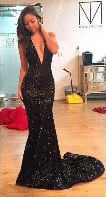 Chicloth Black Sequins Open-Back Halter Deep-V-Neck Mermaid Prom Dress_5