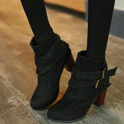 Suede Buckle Chunky Heel Daily Elegant Round Boots_3