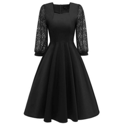 A| Chicloth Burgundy A-line Half Sleeve Lace Dress_6