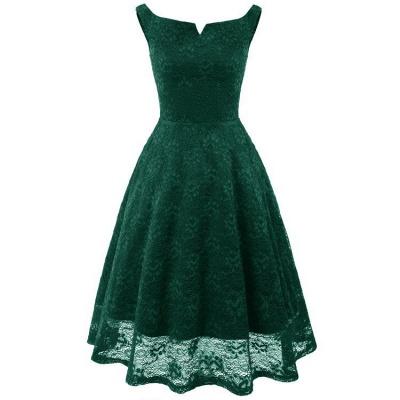 A| Chicloth Pink Sleeveless A-Line Lace Dress_2