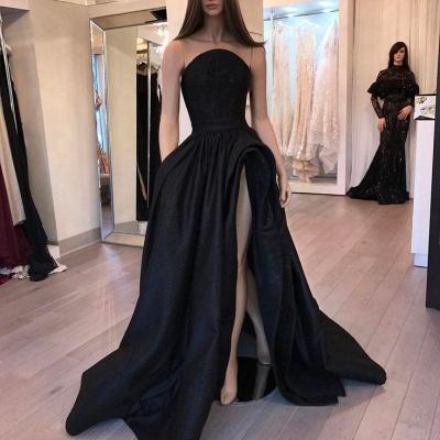Chicloth Sexy Black Slit Sleeveless Designer Evening Dress_3