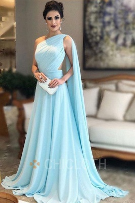 Chicloth One Shoulder Chiffon Long Bridesmaid Dresses_1