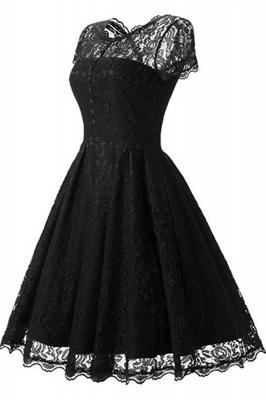 Lace Black Button Chic Elegant Vintage Dresses_3