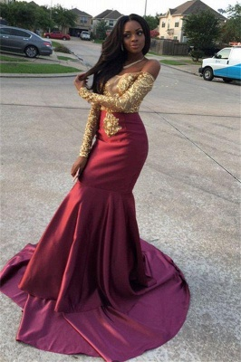 Chicloth Gold Lace Appliques Off The Shoulder Evening Gowns Long Sleeve Mermaid 2019 Prom Dress CE0071_4
