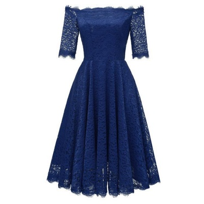 A| Chicloth White A-line Knee-length Lace Dress_8