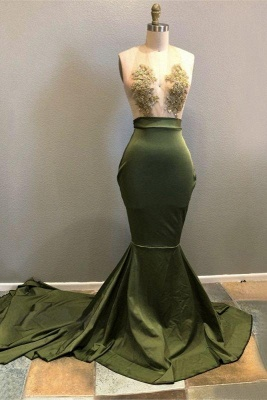Chicloth Halter Lace Appliques 2019 Prom Dress | Mermaid Evening Gowns RM0_1