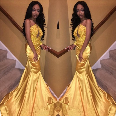 Chicloth Daffodil One Sleeve Sexy Prom Dress 2019   Mermaid Lace Appliques Cheap Evening Gown FB0306_2
