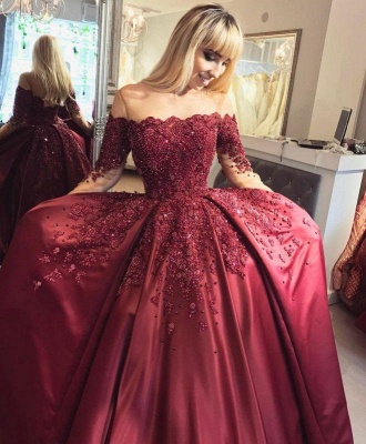 Chicloth Burgundy Off-the-Shoulder Long-Sleeves Crystal Appliques Ball Prom Dresses_2