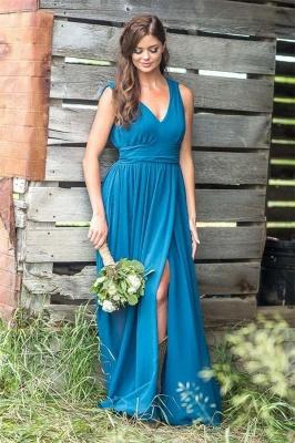 Chicloth V Neck Chiffon Bohemia Long Bridesmaid Dresses_2