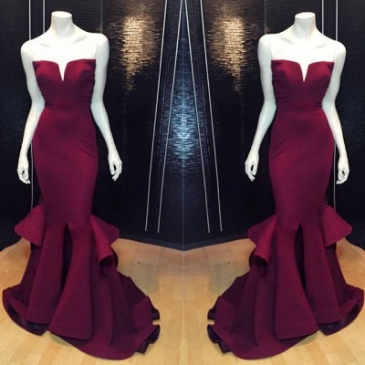 Chicloth Popular Burgundy Mermaid Long Evening Dress Sexy Simple Cheap Notched Slit Prom Gown CJ0397_3