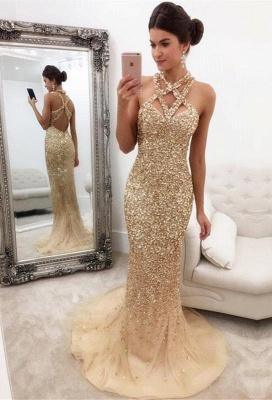 Chicloth Gorgeous Crystals Mermaid Sleeveless Halter Zipper-Back Prom Dress_1