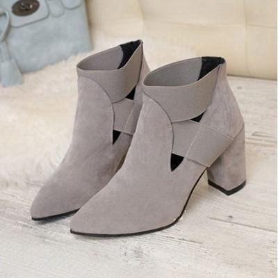 B| Chicloth Autumn Women Pointed Flock Boots_2