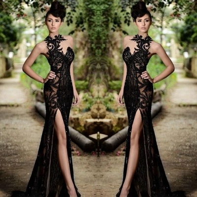 Chicloth Sexy Black Prom Dress| 2019 Mermaid Evening Dress With Slit_4