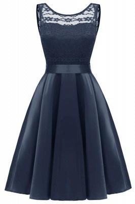 A  Chicloth Sleeveless Burgundy Knee-Length Women's Lace Dress_1