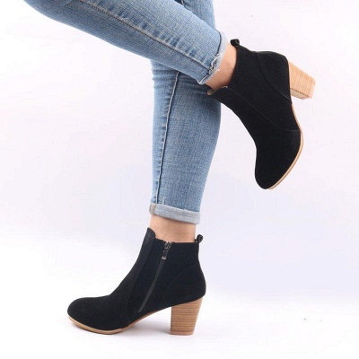 Suede Chunky Heel Zipper Daily Round Boots_7