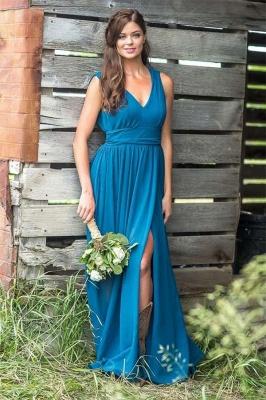Chicloth V Neck Chiffon Bohemia Long Bridesmaid Dresses_1