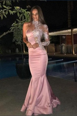 Chicloth One-Shoulder Gorgeous High-Neck Mermaid Lace Evening Dress_1