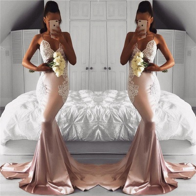 Chicloth Spaghetti Straps V-neck Pink Prom Dresses Lace Mermaid 2019 Cheap Formal Evening Gown FB02019AN0_2