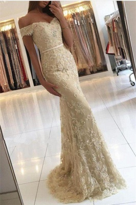 Chicloth Elegant 2019 Lace Mermaid Prom Dresses Off the Shoulder Beading with Belt_1