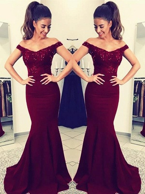 Chicloth Mermaid Off-The-Shoulder Sleeveless Sweep/Brush Train With Lace Satin Dresses_1