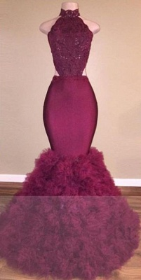 A| Chicloth Glamorous Mermaid Lace Backless Burgundy Prom Dress_4